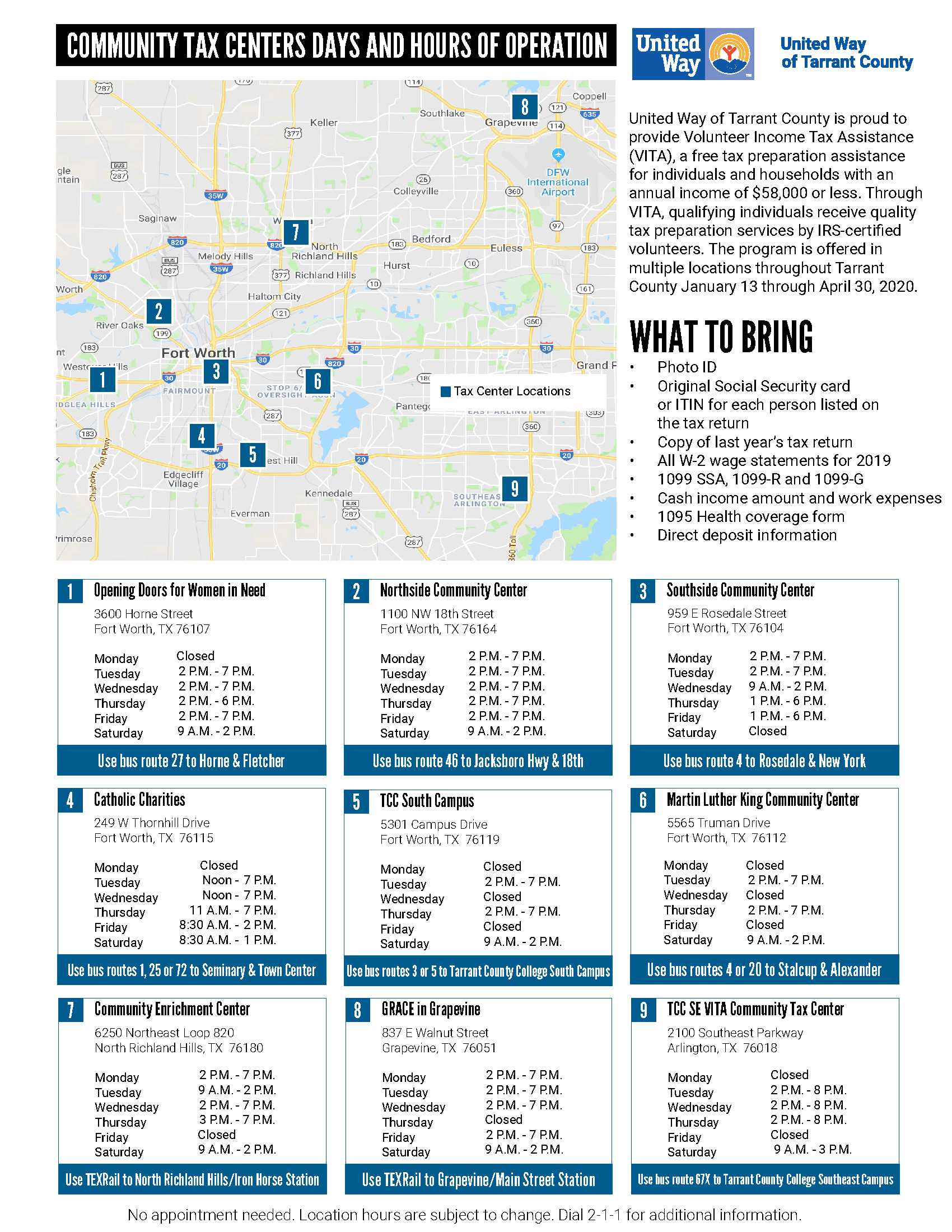 United Way Tax Center Map & Hours of Operations